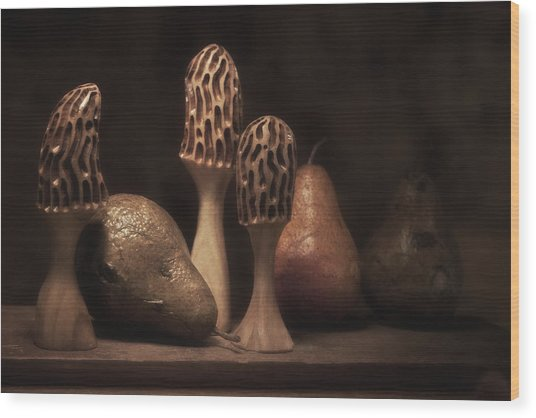 Still Life With Mushrooms And Pears II Wood Print