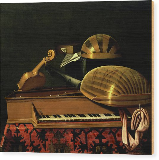 Still Life With Musical Instruments And Books Wood Print