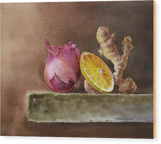 Still Life With Onion Lemon And Ginger Wood Print