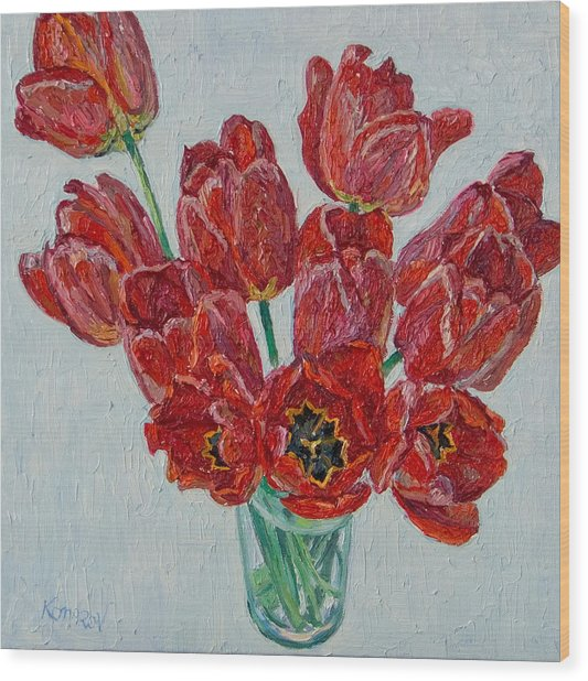 Still Life With Open Red Tulips Wood Print by Vitali Komarov
