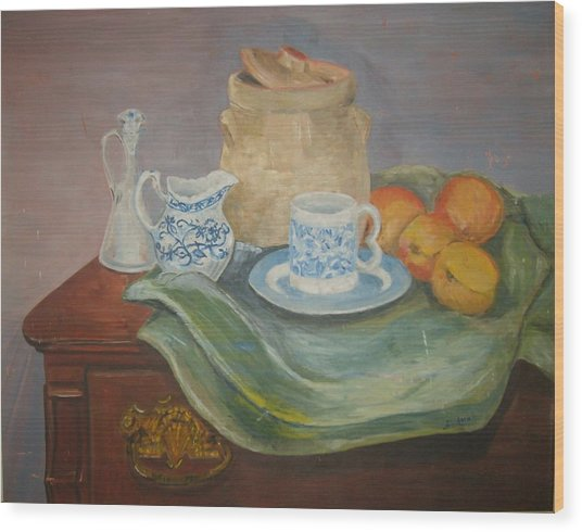 Still Life With Peaches Wood Print by Joseph Sandora Jr