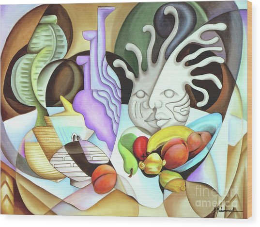 Still Life With Peaches Wood Print by Marcella Muhammad