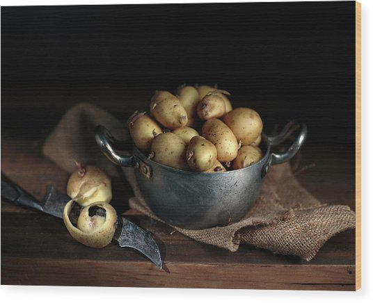 Still Life With Potatoes Wood Print