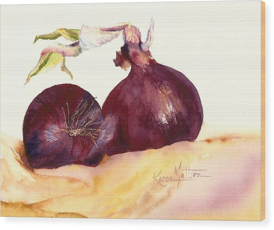 Still Life With Red Onions Wood Print