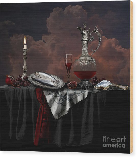 Wood Print featuring the digital art Still Life With Red Wine by Alexa Szlavics