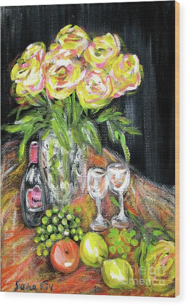 Still Life With Roses, Fruits, Wine. Painting Wood Print