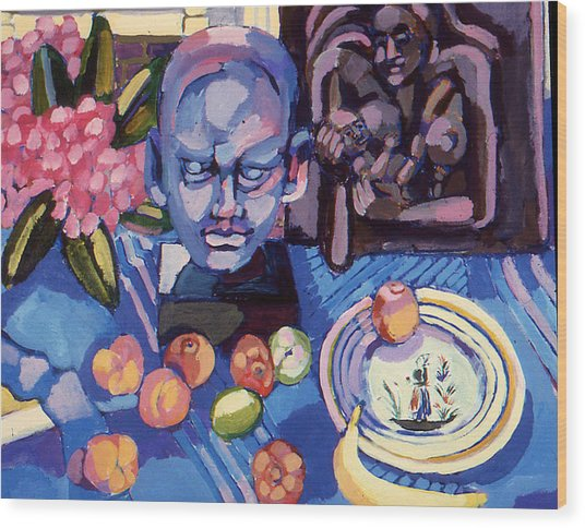 Still Life With Sculpture Wood Print
