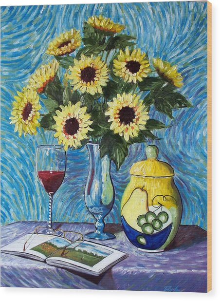 Still Life With Sunflowers Wood Print