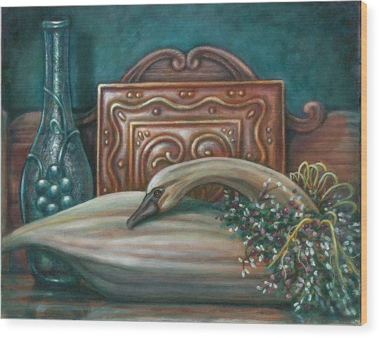 Still Life With Swan Wood Print by Colleen  Maas-Pastore