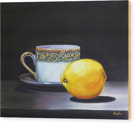 Still Life With Tea Cup And Lemon Wood Print