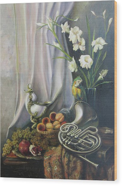 Still-life With The French Horn Wood Print