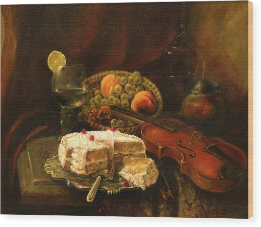 Still-life With The Violin Wood Print