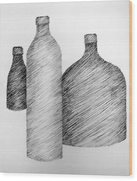 Still Life With Three Bottles Wood Print