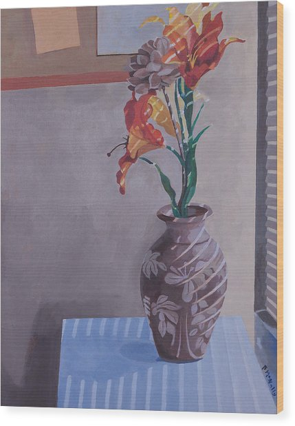 Still Life With Tiger Lilies Wood Print
