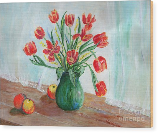 Still Life With Tulips And Apples - Painting Wood Print