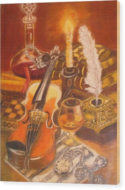 Still Life With Violin And Candle Wood Print