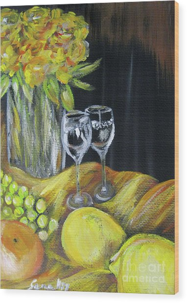 Still Life With Wine Glasses, Roses And Fruit. Painting Wood Print