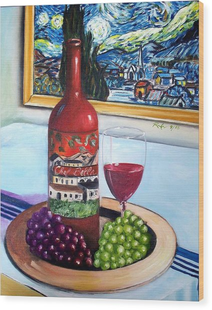 Still Life With Wine Wood Print