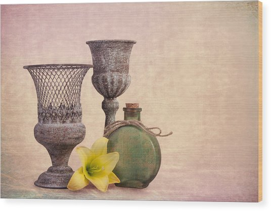 Still Life With Yellow Lily Wood Print