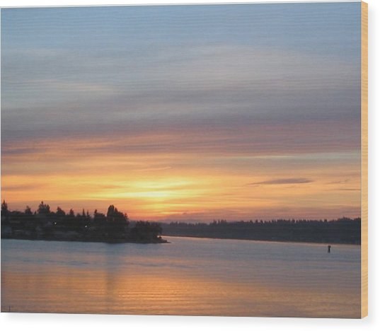 Still Morning Sunrise Wood Print by Valerie Josi