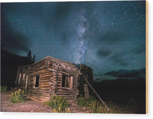 Still Night At Old Cabin Wood Print