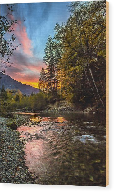 Stillaguamish Sunset Wood Print