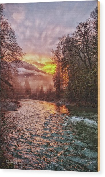 Stilly Sunset Wood Print