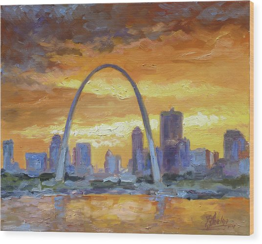St.louis Arch - Sunset Wood Print