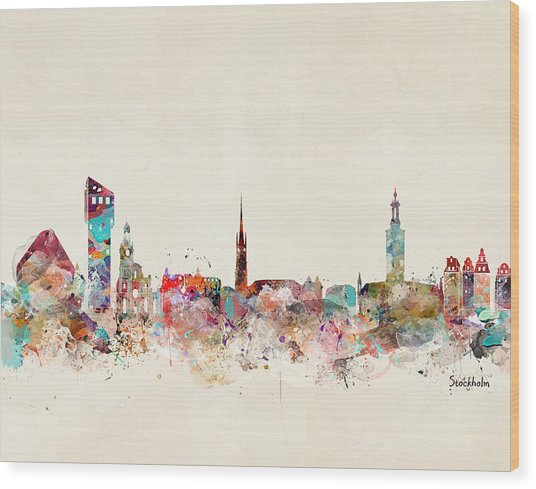 Stocklholm Sweden Skyline Wood Print