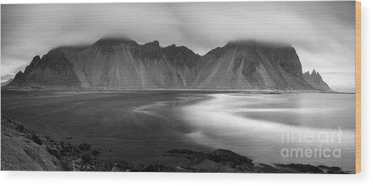 Stokksnes Iceland Bandw Wood Print