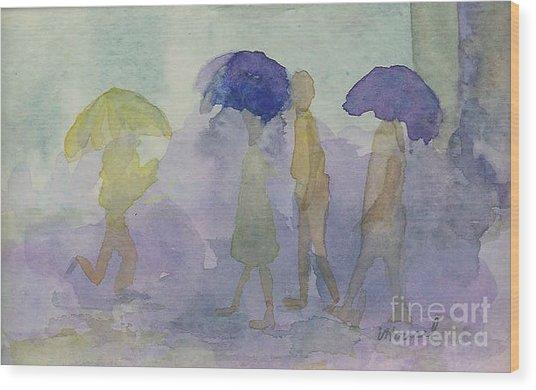 Stomping In The Rain Wood Print