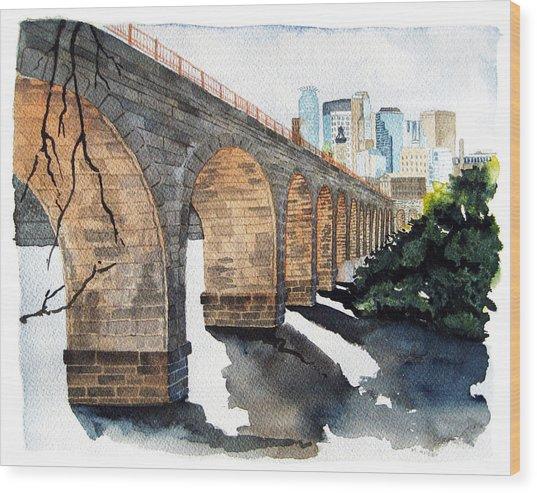 Stone Arch Bridge Watercolor Wood Print