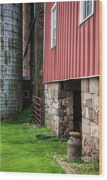 Stone Barn With Milk Can Wood Print