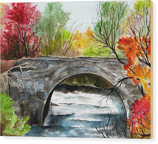 Stone Bridge In Maine  Wood Print