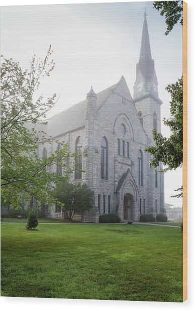 Stone Chapel In Fog Wood Print