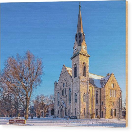 Stone Chapel In Winter Wood Print