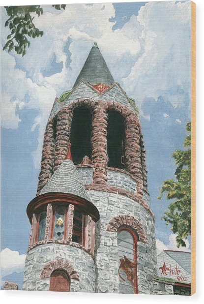 Stone Church Bell Tower Wood Print
