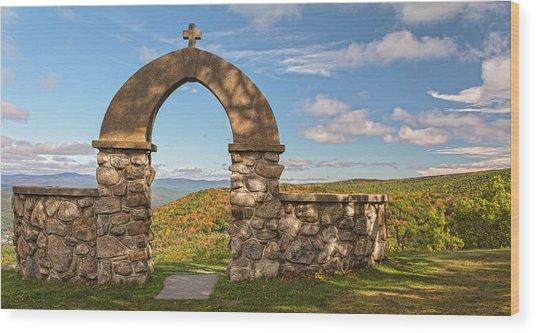 Stone Church In Autumn Wood Print