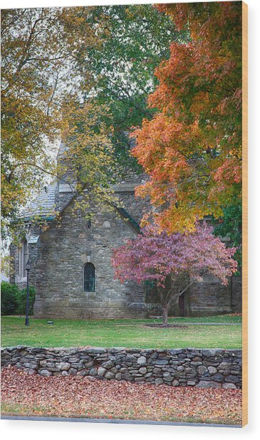 Stone Church In Pomfret Ct In Autumn Wood Print