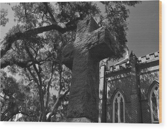 Stone Cross Wood Print by James Luce