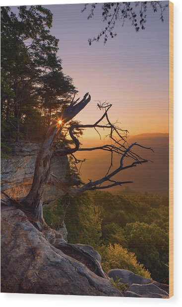 Stone Door Sunrise Wood Print