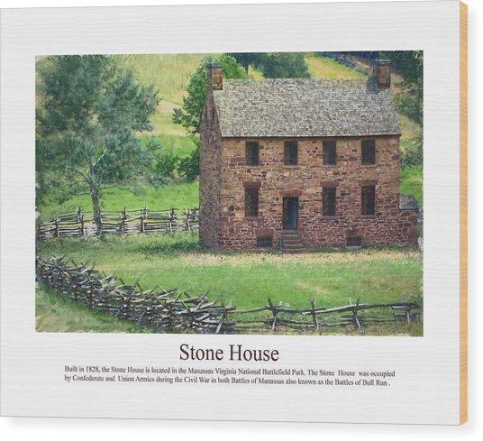 Stone House Wood Print