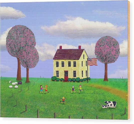 Stone House In Spring Wood Print by Paul Little