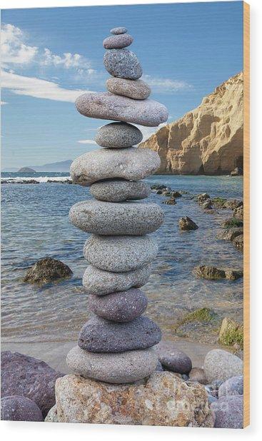 Stone In Balance Wood Print