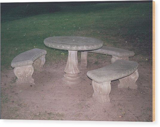 Stone Picnic Table And Benches Wood Print