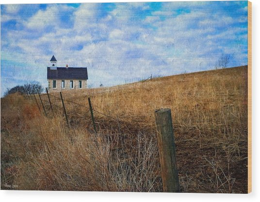 Stone Schoolhouse On The Kansas Prairie Wood Print