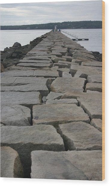 Stone Walk To Light House Wood Print by Dennis Curry