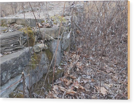 Stone Wall At Jackson Lock Wood Print