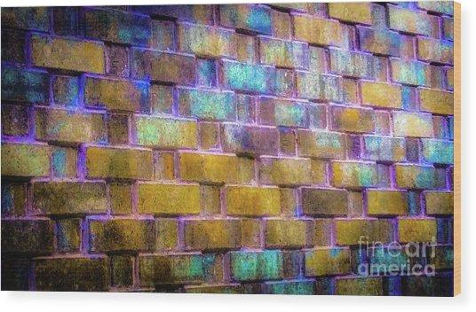 Brick Wall In Abstract 499 Wood Print