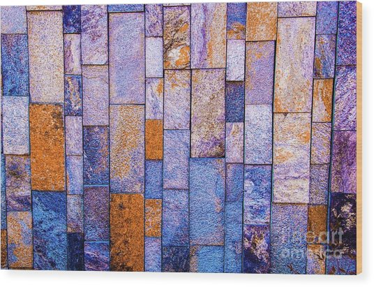Stone Wall In Abstract 543 Wood Print